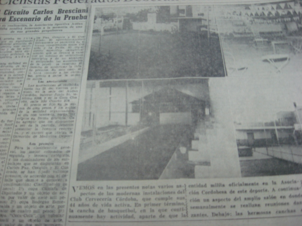 CANCHAS DE BOCHAS CUBIERTAS CLUB CERVECERIA CORDOBA 1965