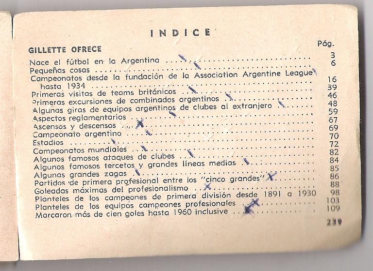 INDICE DE ENCICLOPEDIA DE BOLSILLO GILLETTE AÑO 1960