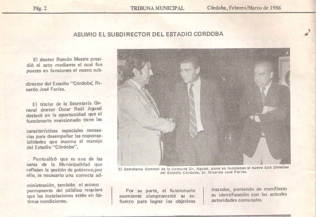 SUB DIRECTOR DEL ESTADIO CORDOBA - RICARDO JOSE FARIAS