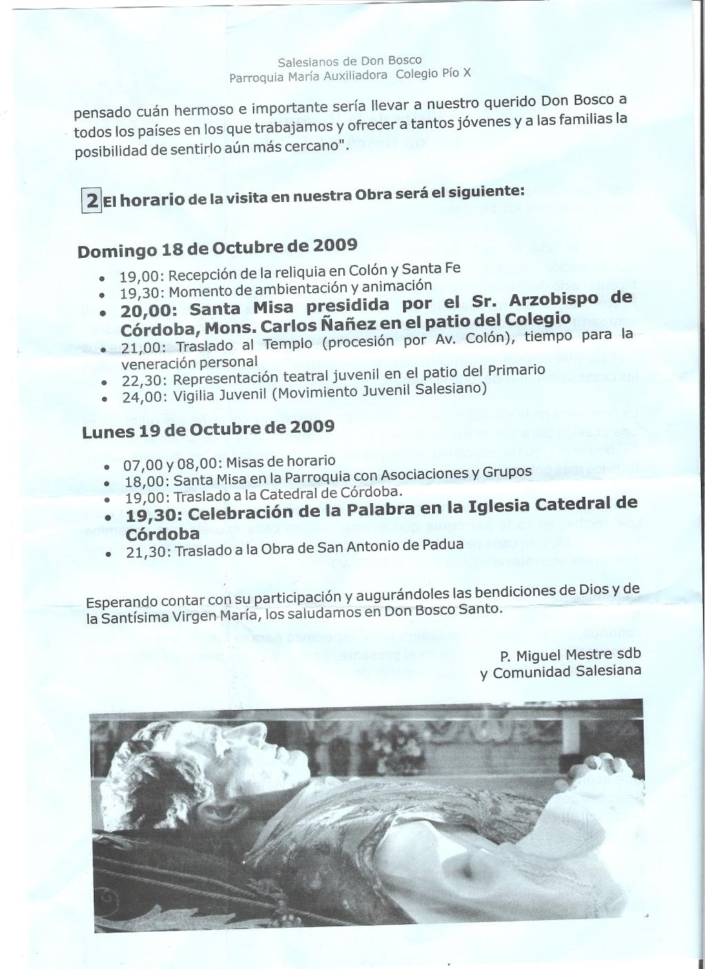 DON BOSCO EN CORDOBA, EN PIO X Y SAN ANTONIO DE PADUA