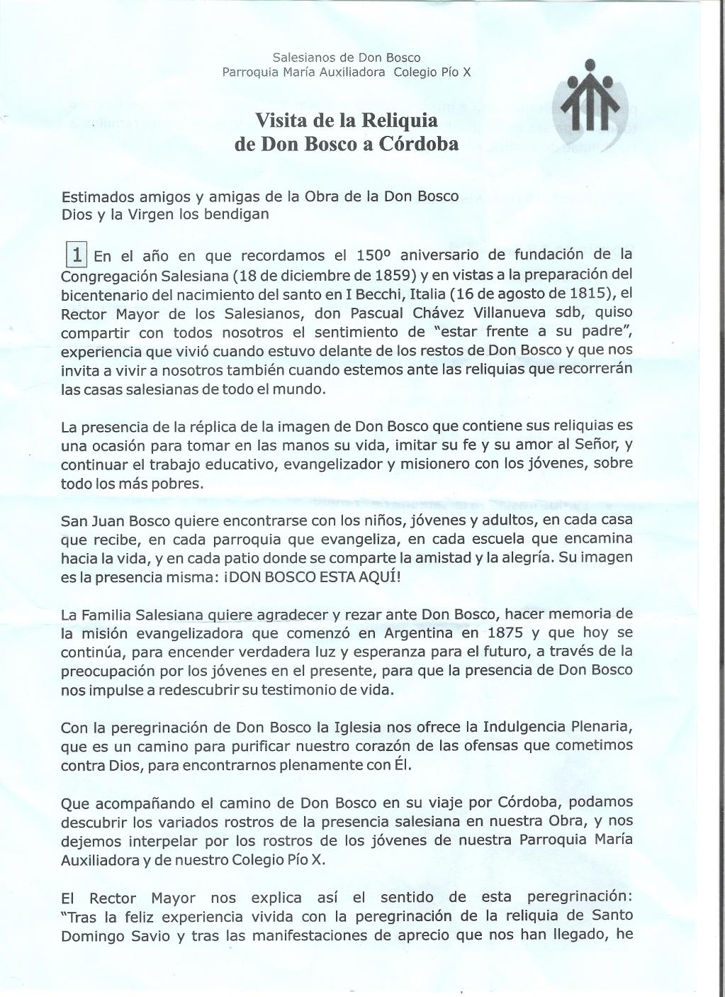 COMUNICACION DIRIGIDA A LA FAMILIA SALESIANA POR EL DIRECTOR DEL COLEGIO PIO X